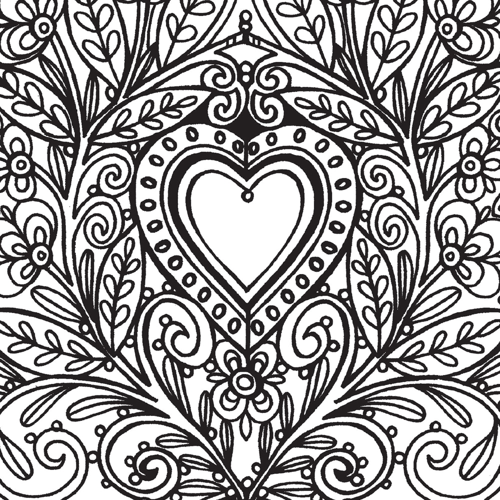Stress relief coloring pages - Heart Coloring